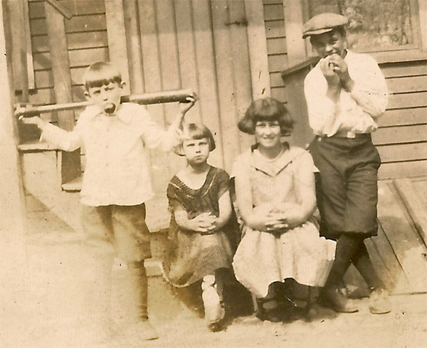I believe the older girl in this picture is my grandmother, Sophie Karvoius. The two boys and the little girl are unidentified. Isn't this a fun picture? It's possible that it was taken in Elizabeth, NJ, likely in the 1920's.