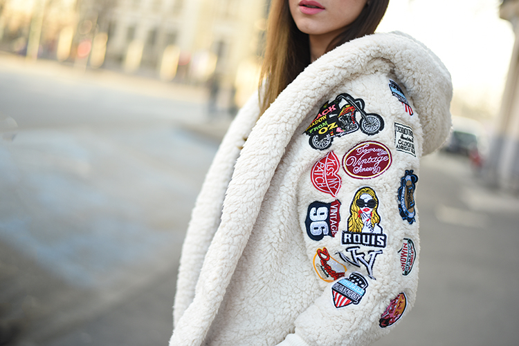 Skinny Buddha lamb wool coat embroidered patches
