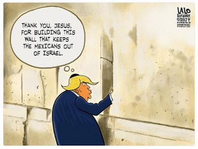"Meme of Donald Trump saying, ""Thank you, Jesus, for building this wall that keeps the Mexicans out of Israel"""
