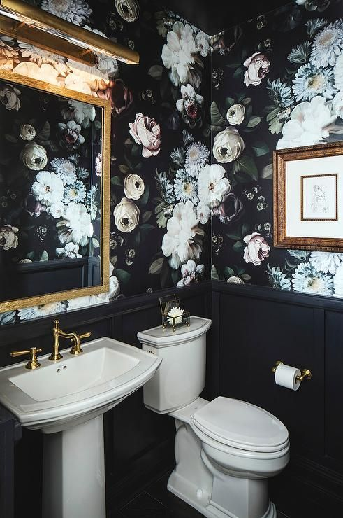 Superbe We Will Also Show You A Bathroom With A White Tub And A Brown Seat With  Green Walls Patterned With Colorful Flowers.