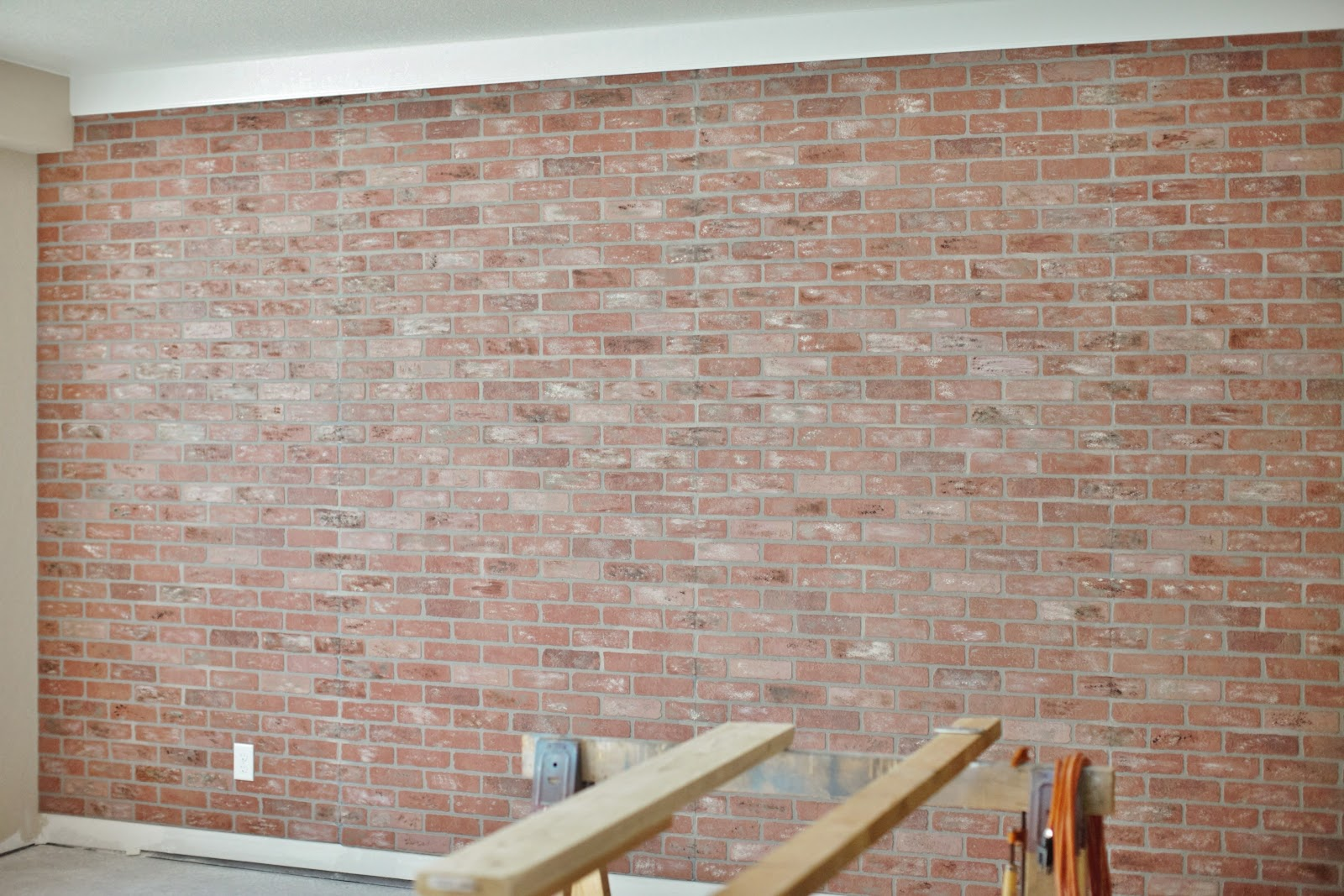 His hers and ours diy faux brick wall - Artificial brick wall panels ...