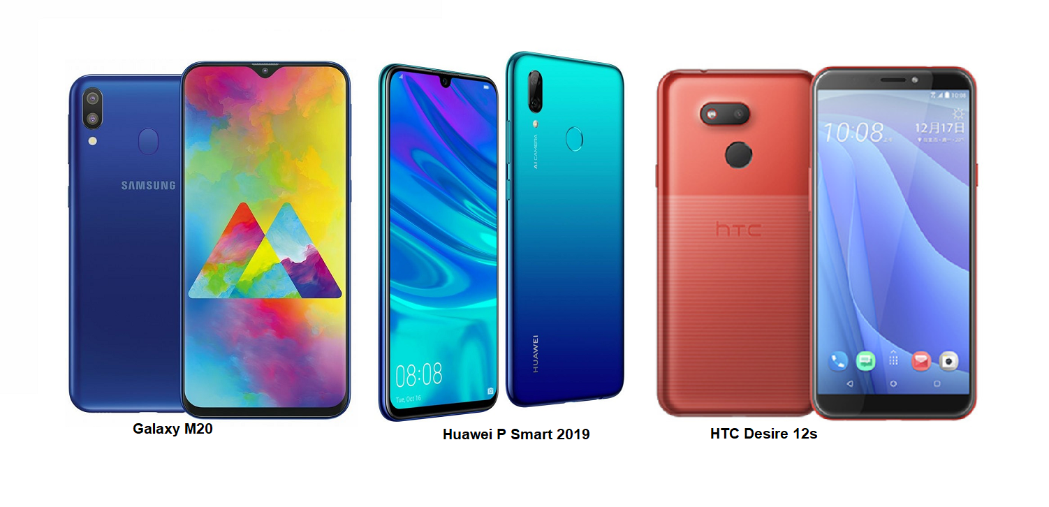 e7ffa53e59d74e Samsung Galaxy M20 Vs HTC Desire 12s Vs Huawei P Smart 2019 Specs  Comparisons