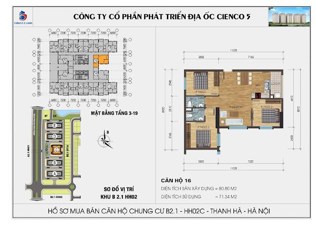 Mặt bằng căn hộ số 16 HH02C khu B2.1 Thanh Hà Mường Thanh