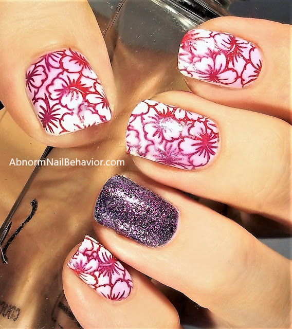 Abnorm Nail Behavior Nail Art Blending Stamp Colors Hibiscus