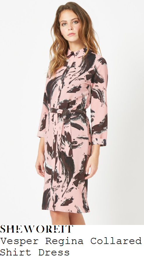 susanna-reid-vesper-regina-baby-pink-washed-black-and-white-painterly-brush-stroke-print-three-quarter-sleeve-collared-tie-waist-shirt-dress