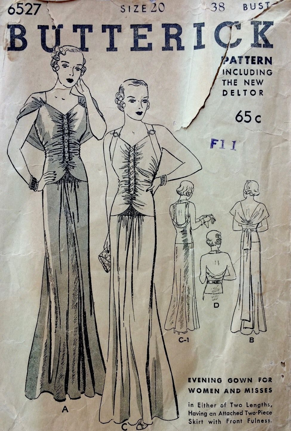 A Few Threads Loose: Sew Expensive - Butterick 6527 1930\'s Evening Gown