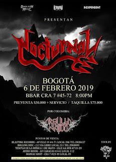 POSTER Concierto de NOCTURNAL en Bogotá 2019