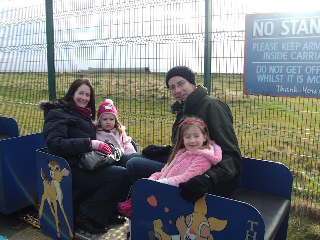 Steph's Two Girls whole family on blue train