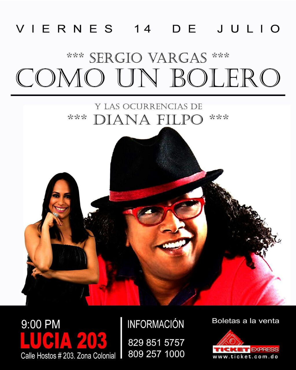 Sergio Vargas y Diana Filpo se presentarán en el bar Lucía de la Zona Colonial