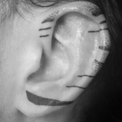 kulak kenarı çizgi dövmeleri line tattoos on ear