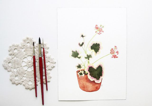watercolor, botanical watercolor, geranium watercolor, botanical painting, Anne Butera, My Giant Strawberry
