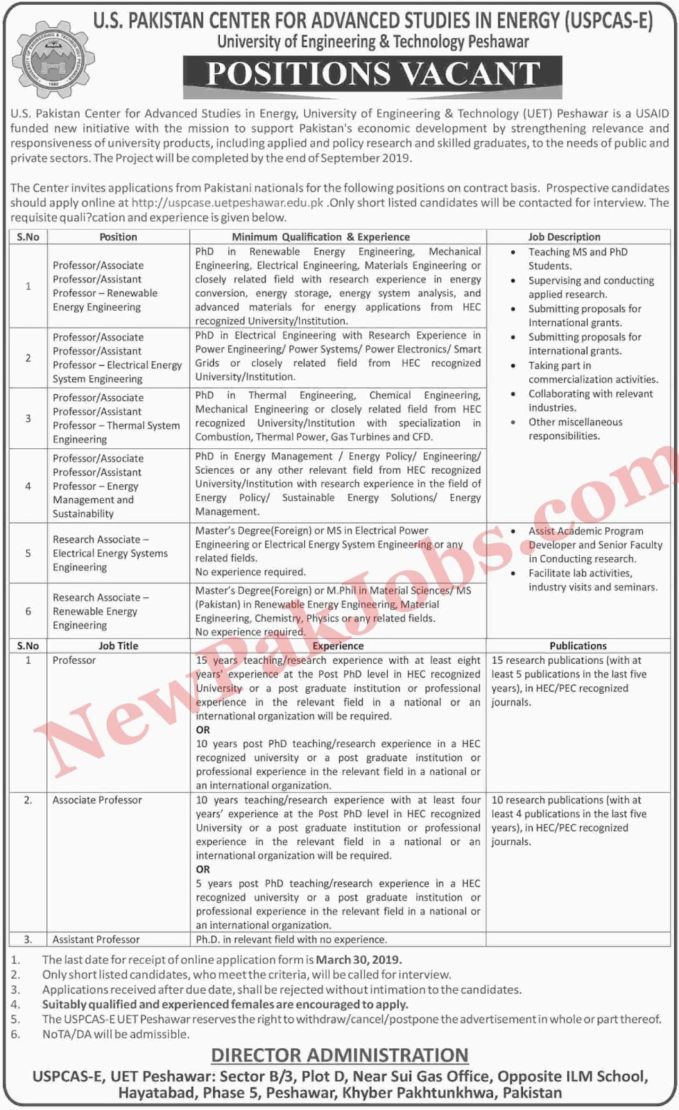 Jobs in University of Engineering & Technology Peshawar 24 Mar 2019