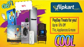 Flipkart cashlees PayDay Offer:-Get 10%  Discount offer on All Banks /Debit card/credit card/Nat Banking/Flipkart  Payday Offer All User| 1-2 December 2018