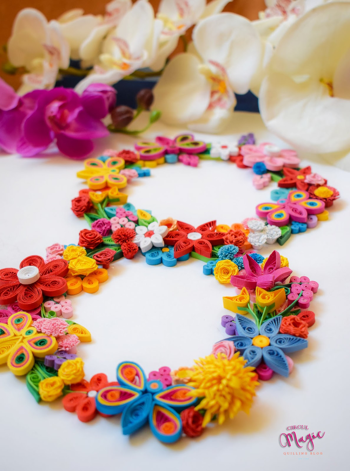 8 martie - numar quilling, flori si fluturi - cadou handmade circul magic