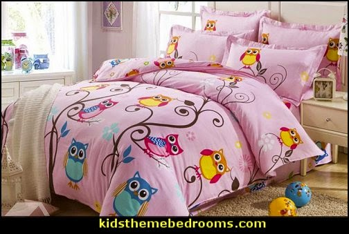 owl theme bedroom decorating ideas - Owl room decorations - owl themed baby nursery - Owls wall stickers - owl bedding
