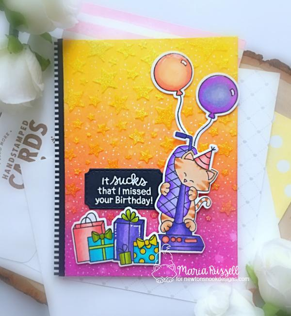 Missed your Birthday Cat Card with Vacuum by Maria Russell | Newton Cleans Up Stamp Set by Newton's Nook Designs #newtonsnook #handmade