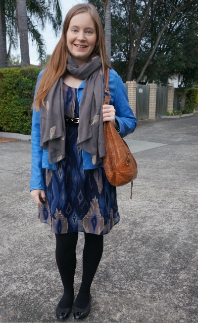 cobalt leather jacket, embroidered feather scarf, ikat print belted dress, winter office outfit | awayfromblue