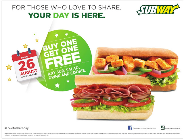 Subway - buy one & get one free |  Only for Today | August 2016 discount offer