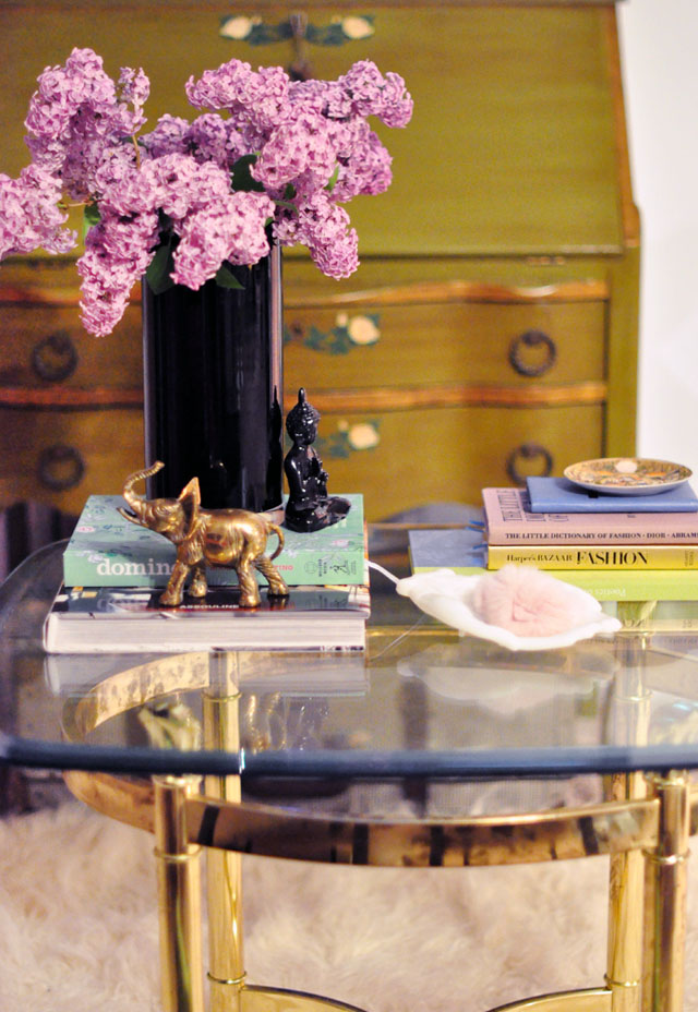 fresh cut lilacs, flowers as decor