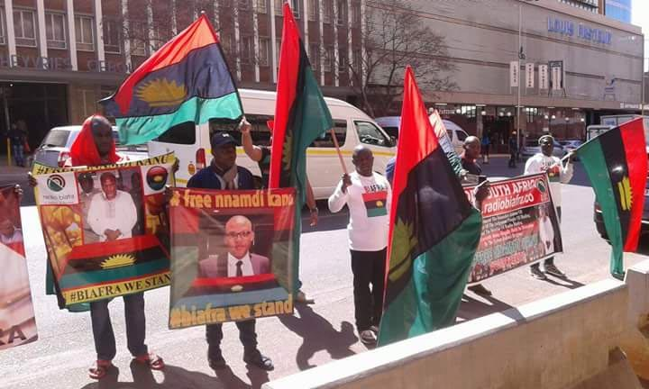 Photos: IPOB members campaign at United Nations office in South Africa