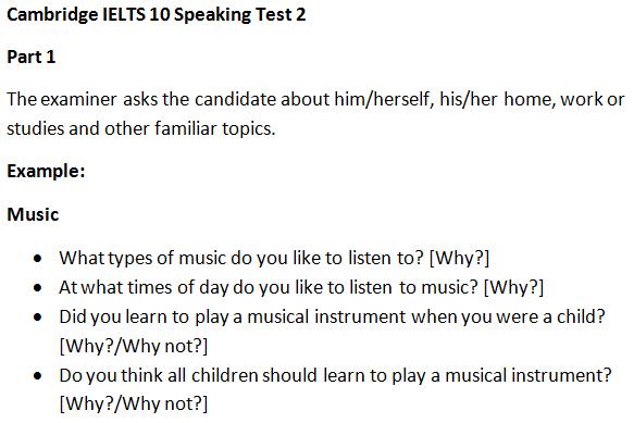 Cambridge IELTS 10 Speaking Test 2 Part 1 Questions & Answers