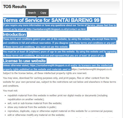 Terms of Service (TOS) di Blog