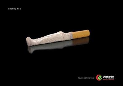 Ingenioso diseño de cartele  antitabaquismo