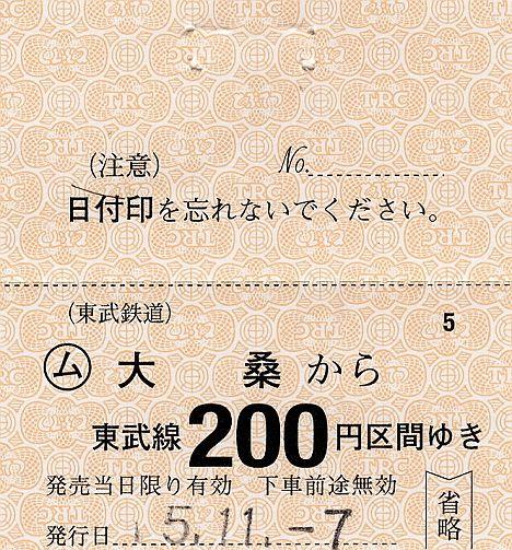 東武鉄道 常備軟券乗車券 鬼怒川線 大桑駅