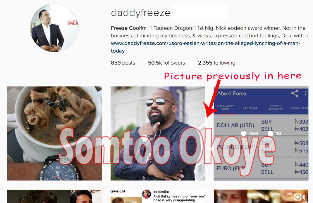 Freeze deletes controversial picture of Basketmouth's wife, Elsie Okpocha