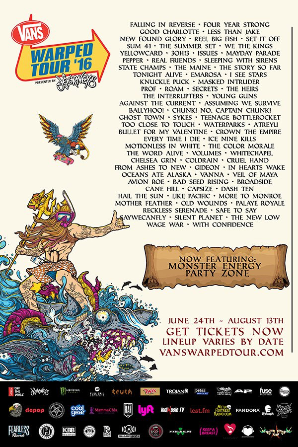 0926afd9c49a9 Vans Warped Tour 2016  Lineup   Dates (June 24 - Aug 13)
