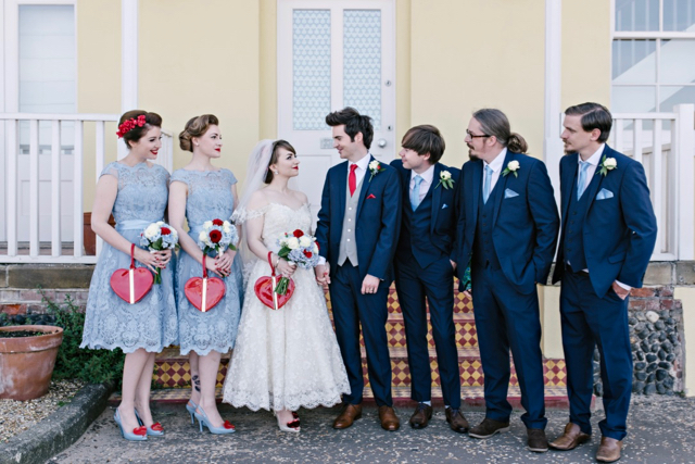 Baby blue and red bridal party style at vintage seaside wedding