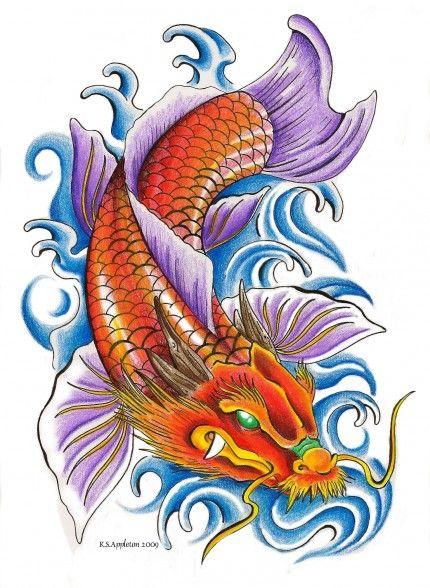 diseño tatuaje de pez coi