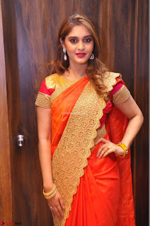 Surabhi looks stunning in Saree at Nakshatra Fashion Store Launch at Suchitra X Road HD Pics