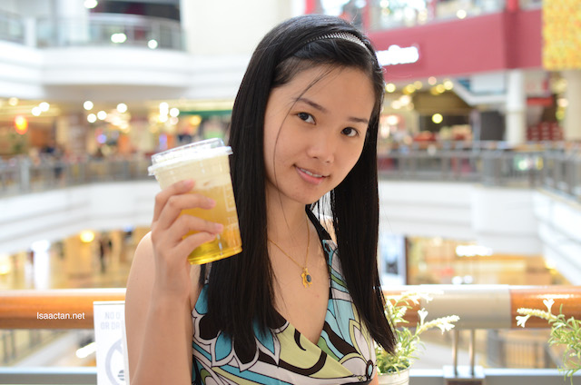 Janice loves her Cheese Crema beverage at Tokyo Secret
