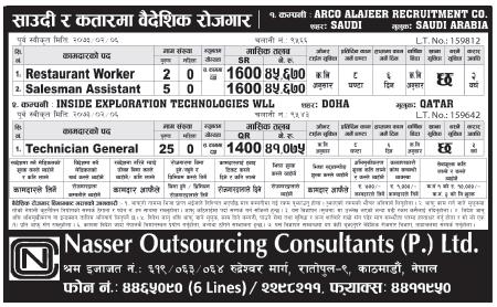Jobs For Nepali In Saudi Arabia, Salary -Rs.45,000/