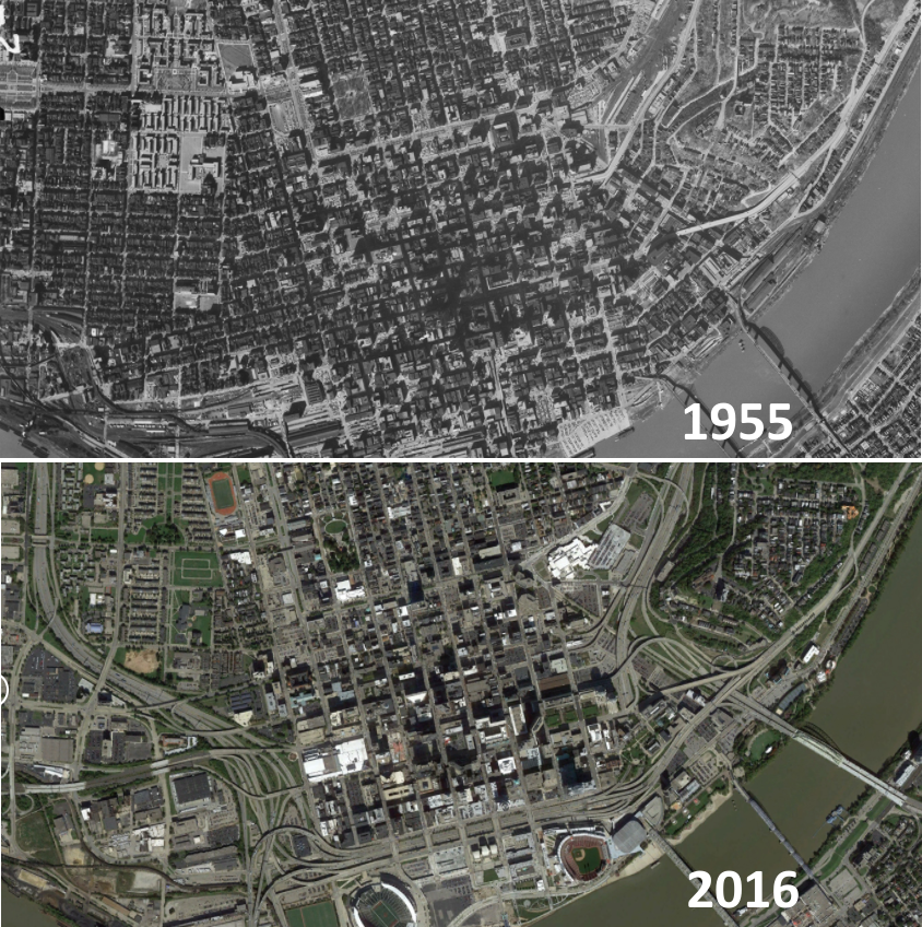 The effects of urban highways on cities (Cincinnati, 1955 vs 2016)