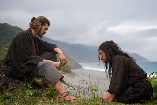 "Andrew Garfield and Yôsuke Kubozuka in Martin Scorsese's ""Silence"""