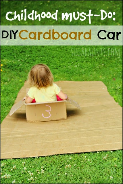"All kids should do this in their childhood! Make a cardboard car and ""drive"" down a cardboard hill."