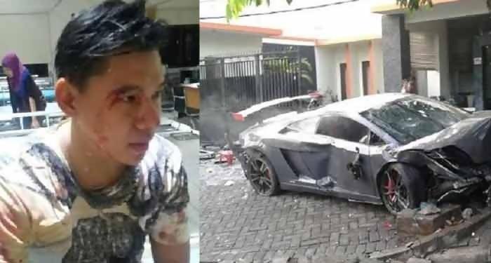Ini Video Lamborghini Maut Vs Ferrari Tabrak Warung STMJ di Surabaya
