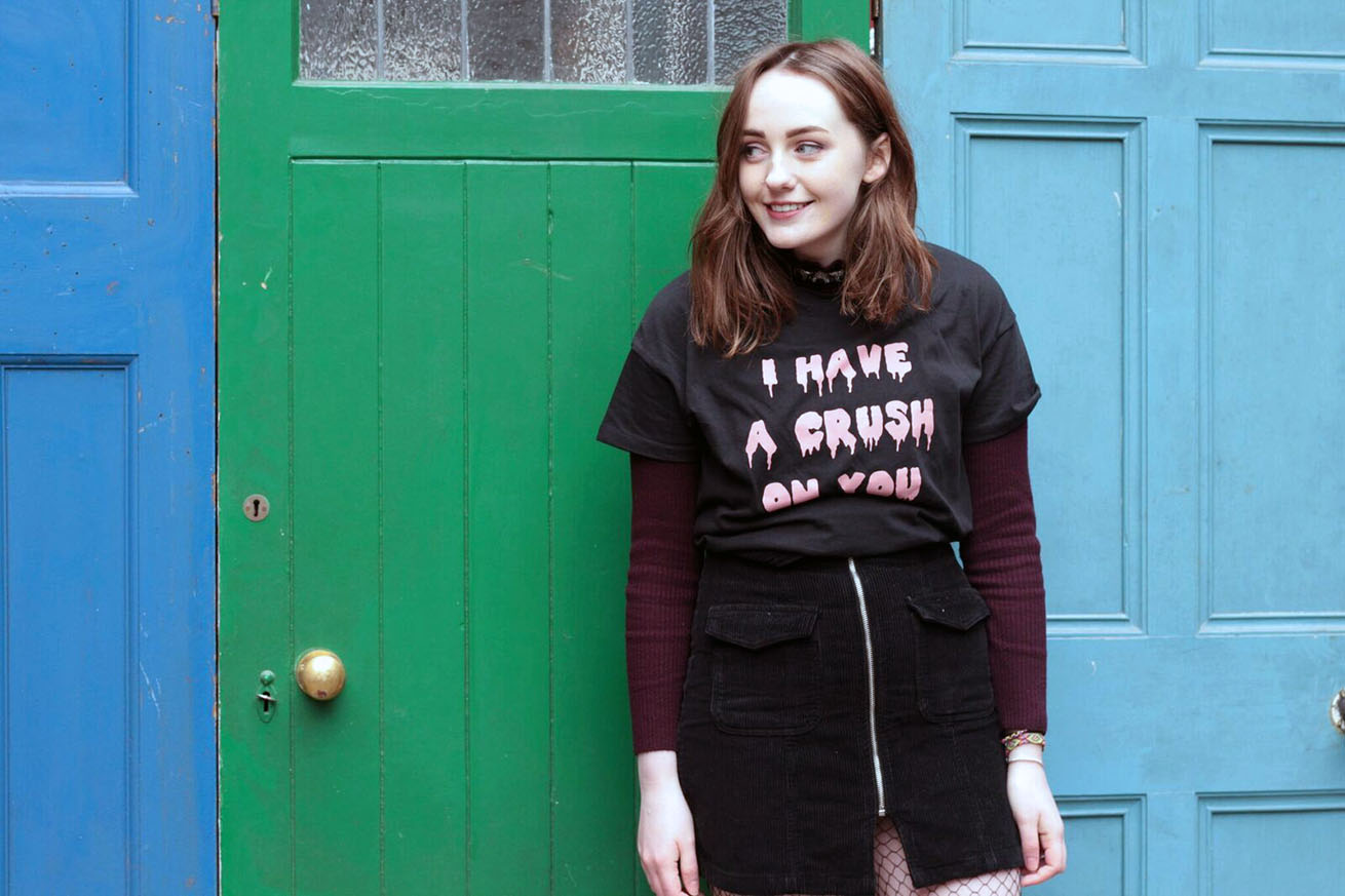 Liverpool fashion blogger at red brick vintage, pull & bear I have a crush on you t-shirt