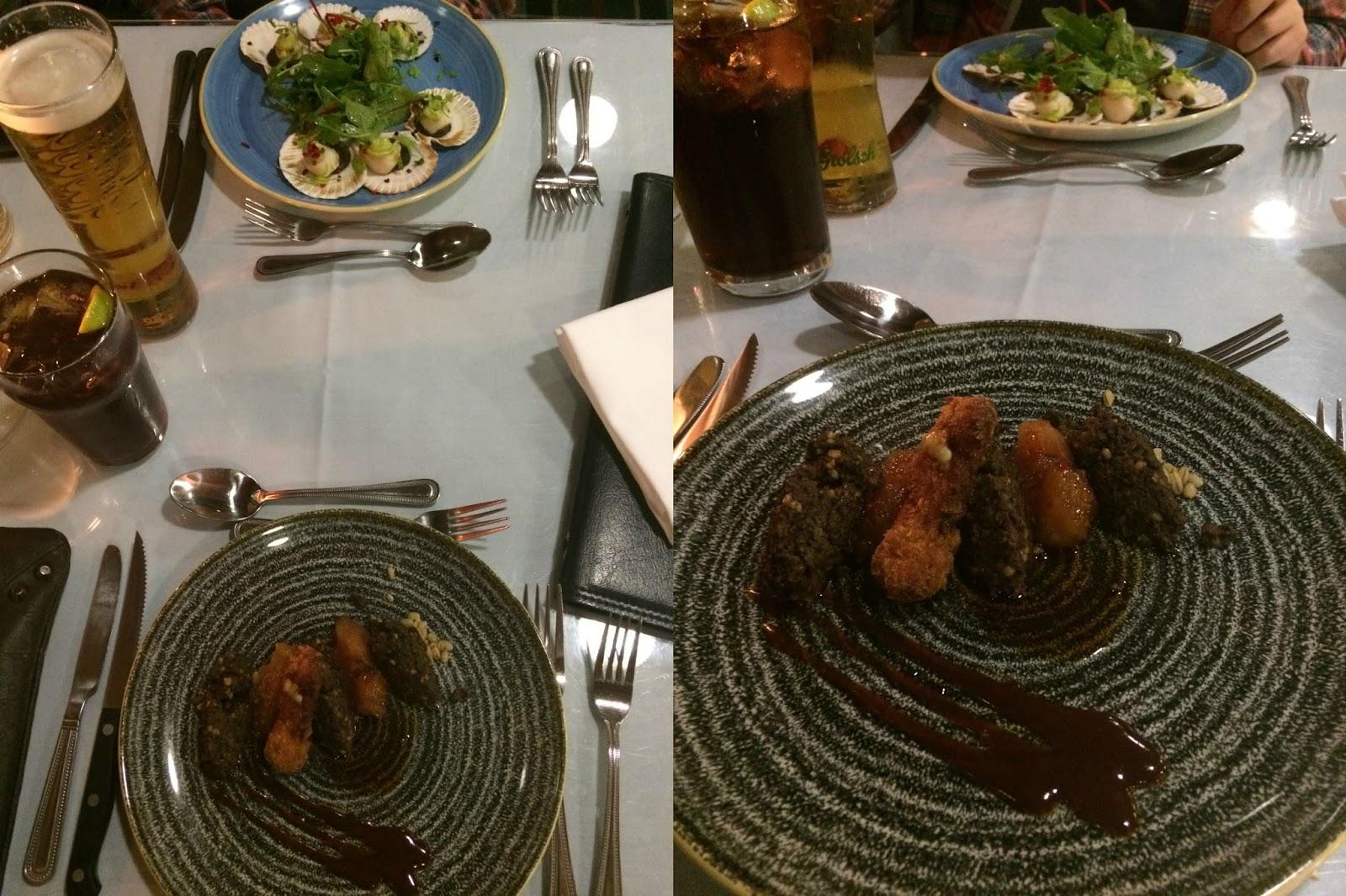 haggis, scallops, turnip jam, croquette potatoe,