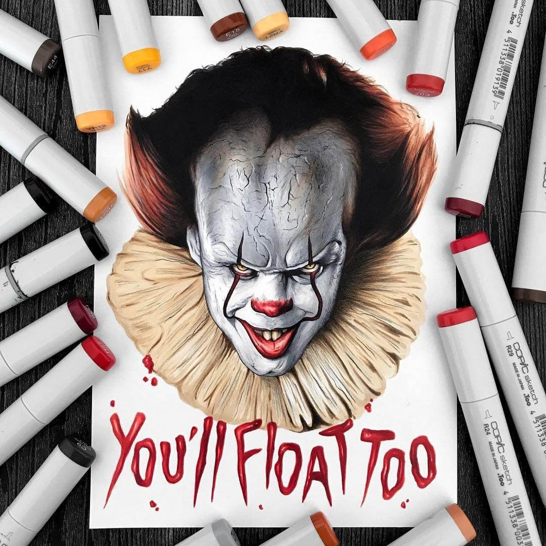 08-Pennywise-IT-You-ll-float-too-Stephen-Ward-Movie-and-Comics-Superheroes-and-Villains-Drawings-www-designstack-co