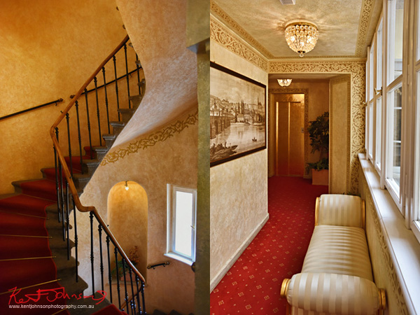 Spiral Staircase and divan in hallway, Boutique Hotel photography in Prague by Kent Johnson.
