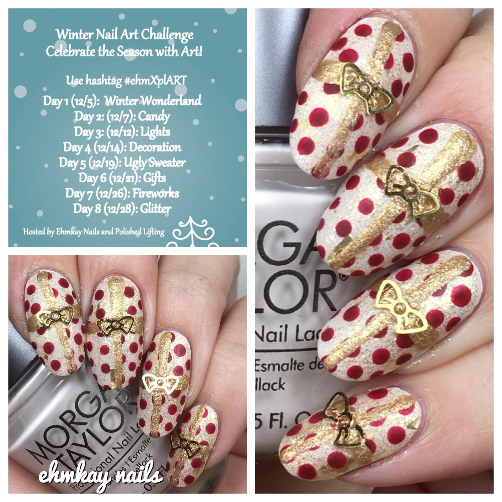 ehmkay nails: Winter Nail Art Challenge: Gift Wrap Nail Art