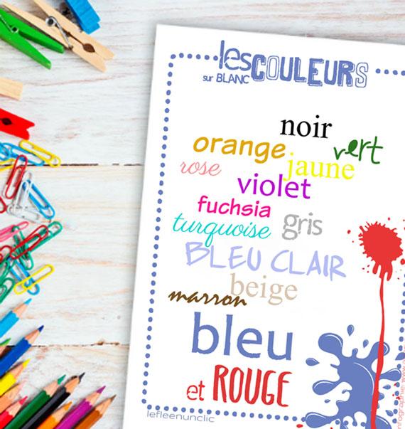 vocabulaire, les couleurs, infographie, FLE, le FLE en un 'clic'