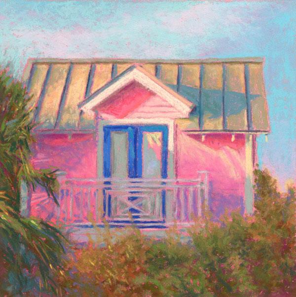 Pastel Painting Florida Cottage Landscape Pastel Painting