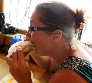 A enjoying her kebab