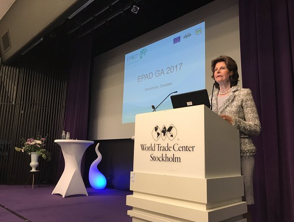 Queen Silvia of Sweden attend the meeting of the Alzheimer's Dementia Consortium General Assembly (EPAD) at the World Trade Center in Stockholm