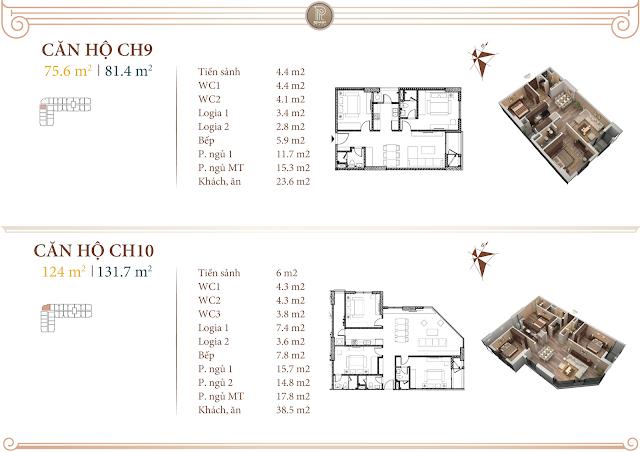 Mặt bằng thiết kế căn 09 và 10