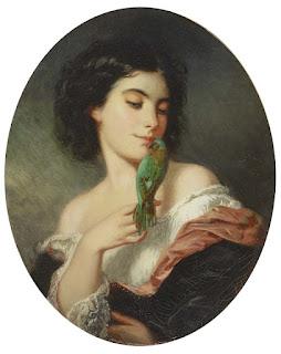 Karl Friedrich Johann von Muller Молодая женщина с попугаем